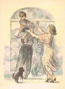 Вдруг из ворот Обгоревшего дома Вышел Один Гражданин Незнакомый. Рыжий от ржавчины, Весь в синяках, Девочку Крепко Держал он в руках.