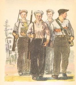 Многие парни Плечисты и крепки, Многие носят Футболки и кепки. Много в столице Таких же Значков. К славному подвигу Каждый Готов!