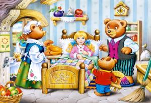 В это время Машенька проснулась, трех медведей увидела и испугалась сильно.  Тогда Мишутка ей и говорит: - Не бойся, девочка, мы медведи добрые