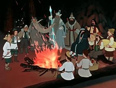 А вокруг костра сидят люди — кто поближе к огню, кто подальше. Сидят и тихо беседуют.