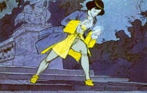 Но лишь успел подхватить хрустальную туфельку, соскользнувшую с ноги девушки.