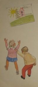 В полдень случай был такой- Петя по привычке дернул левою рукой Катю за косички