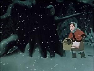 Ветер снегом ей глаза порошит, платок с нее рвет. Идет она, еле ноги из сугробов вытягивает.
