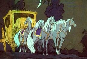 Выпустив их, крестная превратила их в стройных быстроногих лошадей