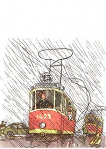 вожатый удивился - трамвай  остановился