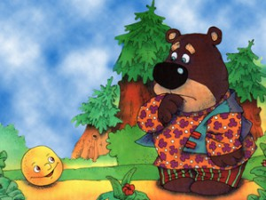 Катится колобок дальше,  а навстречу ему медведь из леса вываливается