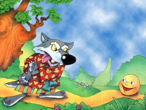 Катится колобок дальше,  а навстречу ему волк