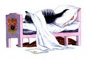 Хвостик на подушке, на простынке ушки