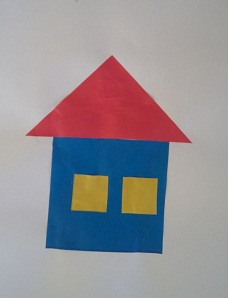 Аппликация из геометрических фигур. Домик