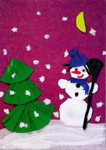 аппликация на тему зима. Снеговик