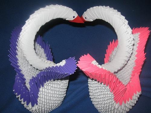 Поделка оригами Лебеди