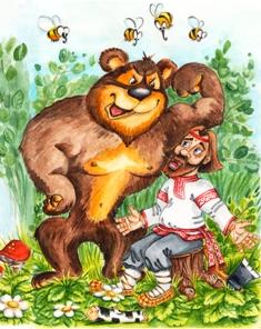 Иллюстрация к сказке Медведь - шутник