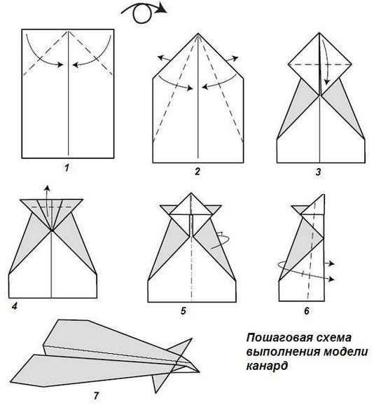 схема изготовления из бумаги самолета конард