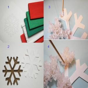 поделки из гофрированной бумаги. Снежинка