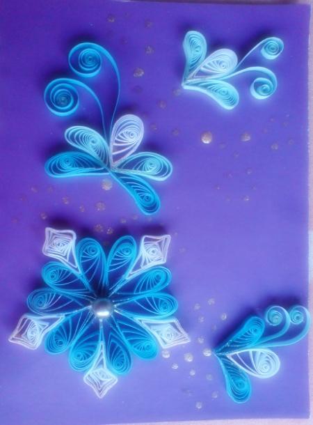 Квиллинг. Цветы голубые