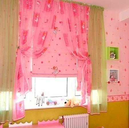 розовые шторы для детской