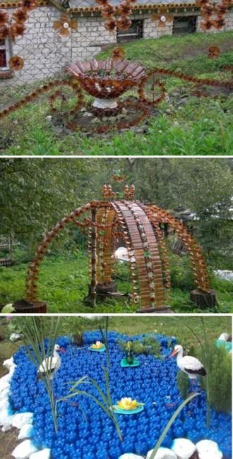 поделки для сада из пластиковых бутылок