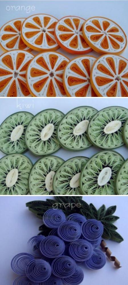 Квиллинг. Картинки фруктов. Апельсины и киви