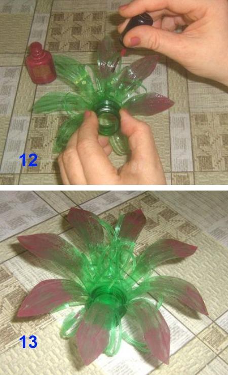 делаем цветы из пластиковых бутылок