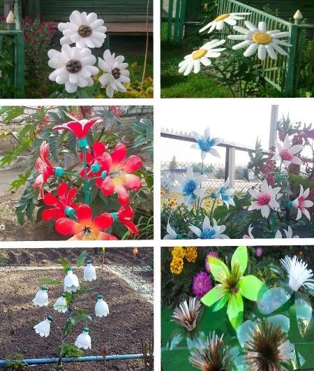 как делатьцветы из пластиковых бутылок