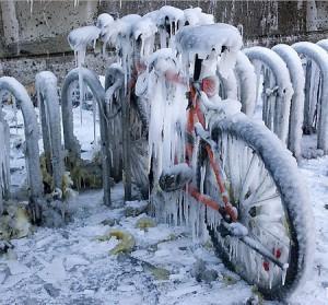 настоящий зимний велосипед
