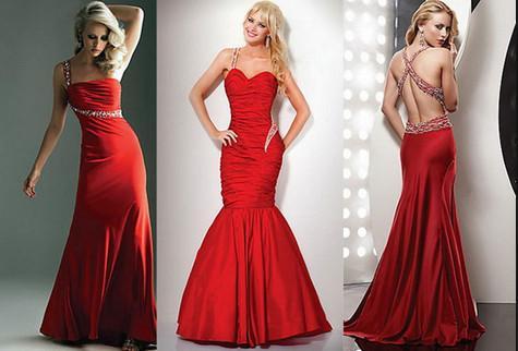 алые вечерние платья