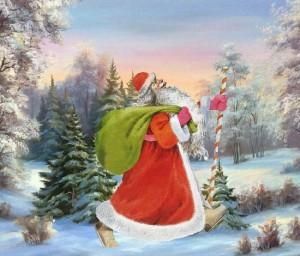 дед Мороз с подарками в лесу