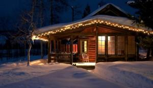 дом гномика в зимнем лесу