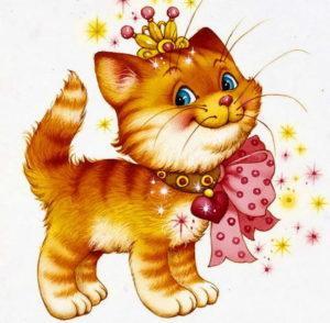 кот с красной лентой
