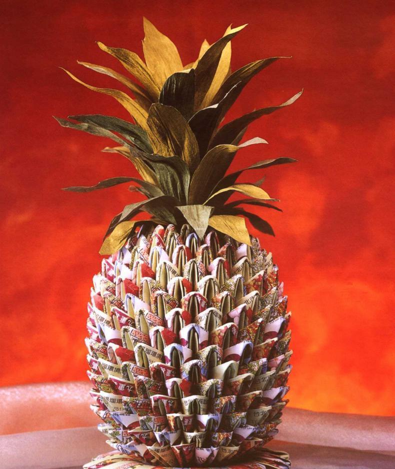 как сделать бумажный ананас