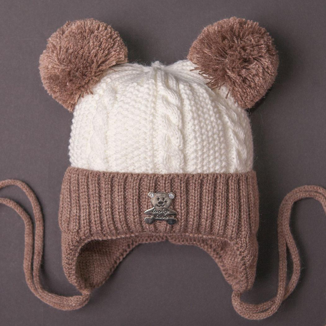 вязаная зимняя шапка для ребенка с отворотом