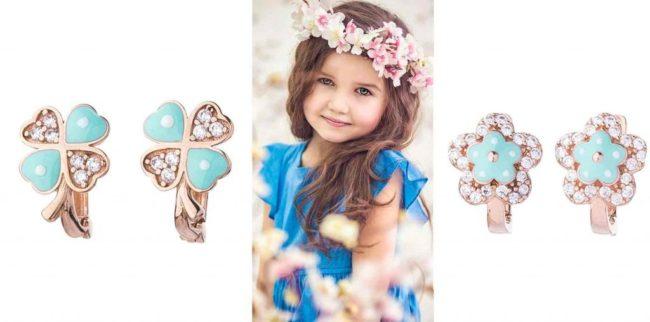 золотые серьги для девочки недорого и красиво